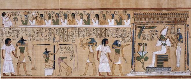pesée du coeur lors du jugement des âmes papyrus d'hounefer